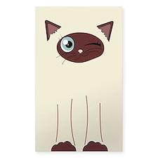 Cute Winking Cat Cartoon, Siamese Markings Decal