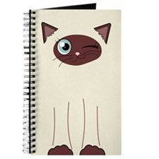Cute Winking Cat Cartoon, Siamese Markings Journal