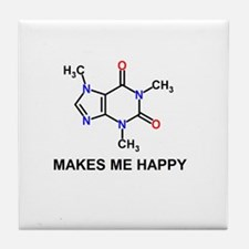 Caffeine Molecule Makes Me Happy Tile Coaster