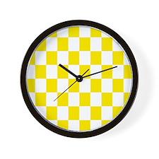 Lemon Yellow Checkerboard Wall Clock