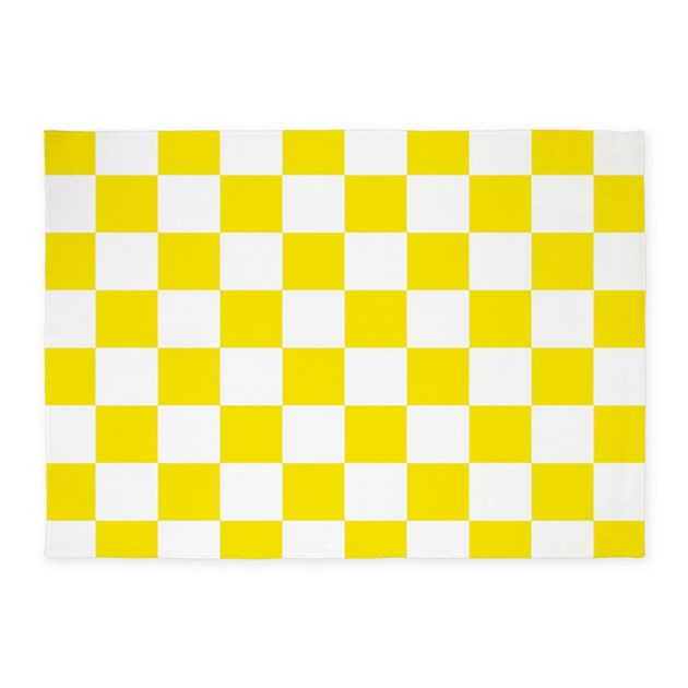 Yellow Checkered Rug: Lemon Yellow Checkerboard 5'x7'Area Rug By Crazycheckerboards