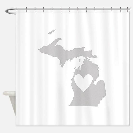 Heart Michigan Shower Curtain