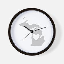 Heart Michigan Wall Clock