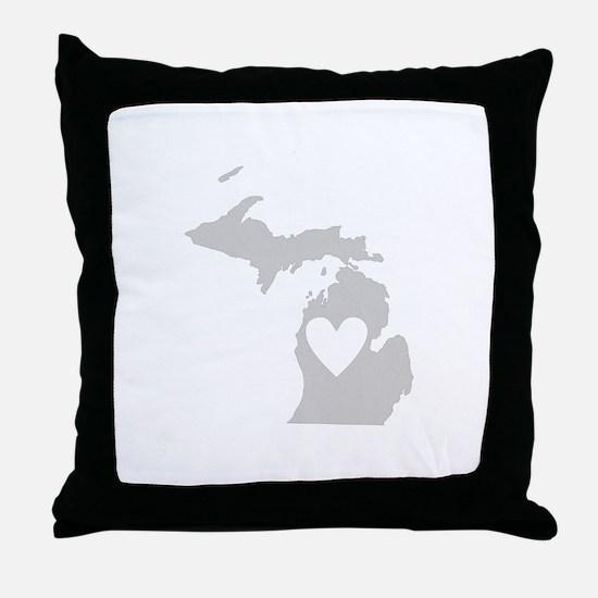 Heart Michigan Throw Pillow