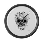 Skull flowers Large Wall Clock
