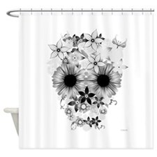 Skull flowers Shower Curtain