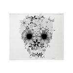 Skull flowers Throw Blanket