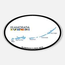 Islamorada - Map Design. Sticker (Oval)