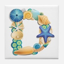 BEACH THEME INITIAL D Tile Coaster