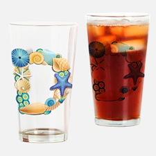 BEACH THEME INITIAL D Drinking Glass