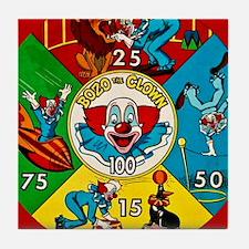 Vintage Toy Clown Cartoon Target Game Tile Coaster
