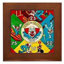 Vintage Toy Clown Cartoon Target Game Framed Tile