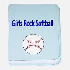 GIRLS ROCK SOFTBALL baby blanket