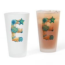 Beach Theme Initial E Drinking Glass