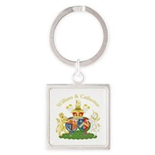 William and Catherine Coat of Arms Square Keychain