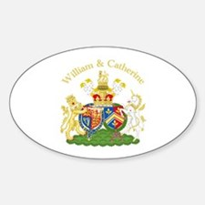 William and Catherine Coat of Arms Sticker (Oval)
