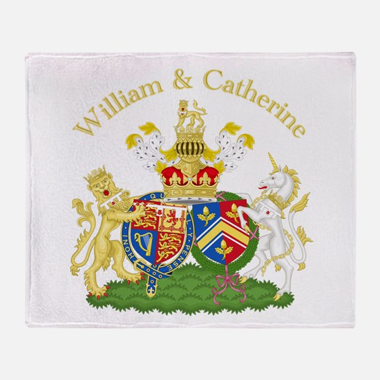 William and Catherine Coat of Arms Throw Blanket