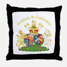 William and Catherine Coat of Arms Throw Pillow