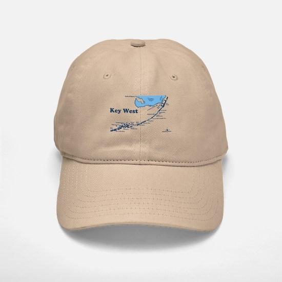 Key West - Map Design. Baseball Baseball Cap