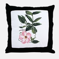 Vintage Pink Morning Glory Throw Pillow