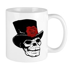 Skull with top hat and red Rose Mug