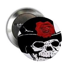 """Skull with top hat and red Rose 2.25"""" Button"""