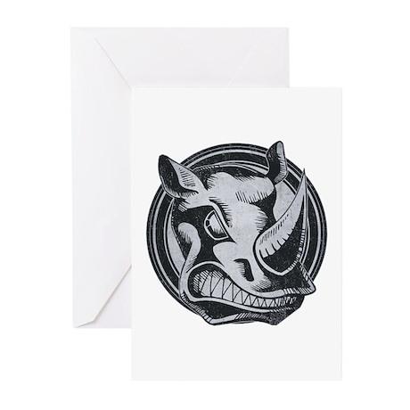 Distressed Wild Rhino Stamp Greeting Cards (10 pac