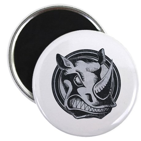 Distressed Wild Rhino Stamp Magnet