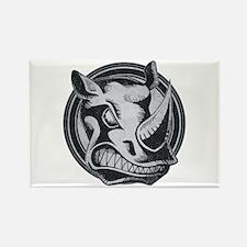 Distressed Wild Rhino Stamp Rectangle Magnet