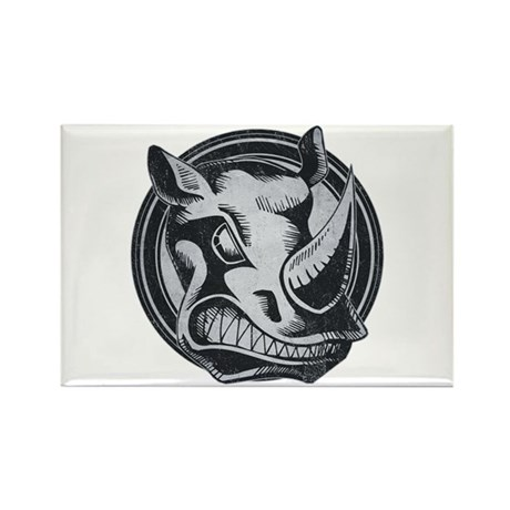 Distressed Wild Rhino Stamp Rectangle Magnet (100