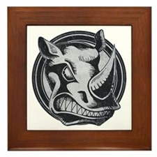Distressed Wild Rhino Stamp Framed Tile