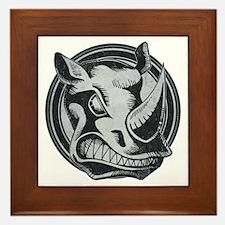 Distressed Wild Rhino Stamp Framed Tile