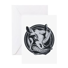 Distressed Wild Rhino Stamp Greeting Card