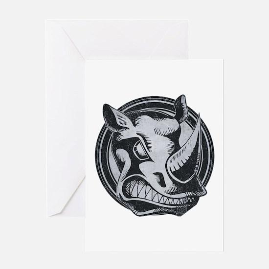 Distressed Wild Rhino Stamp Greeting Card