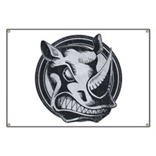 Distressed Wild Rhino Stamp Banner
