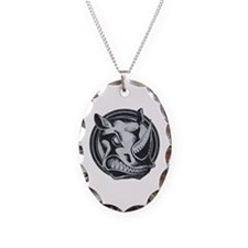 Distressed Wild Rhino Stamp Necklace Oval Charm