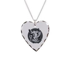 Distressed Wild Rhino Stamp Necklace Heart Charm