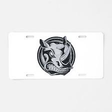 Distressed Wild Rhino Stamp Aluminum License Plate