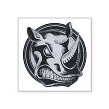 "Distressed Wild Rhino Stamp Square Sticker 3"" x 3"""