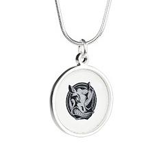 Distressed Wild Rhino Stamp Silver Round Necklace