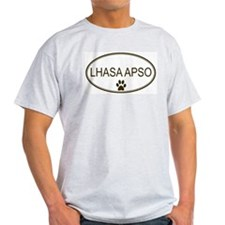 Oval Lhasa Apso Ash Grey T-Shirt
