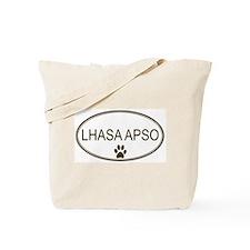 Oval Lhasa Apso Tote Bag