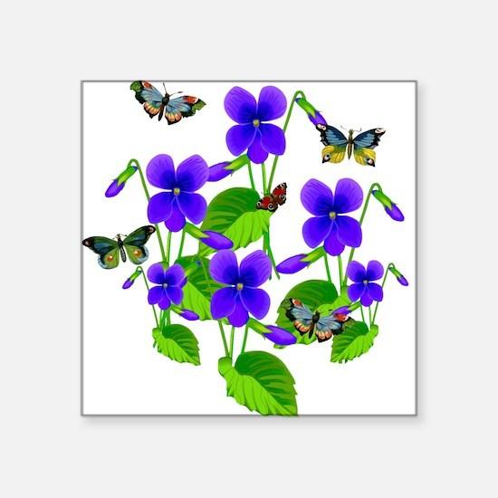 Violets and Butterflies Sticker