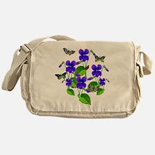 Violets and Butterflies Messenger Bag