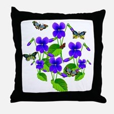 Violets and Butterflies Throw Pillow