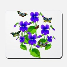 Violets and Butterflies Mousepad