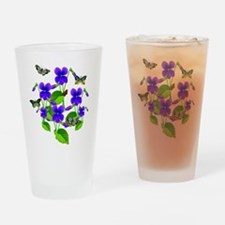 Violets and Butterflies Drinking Glass
