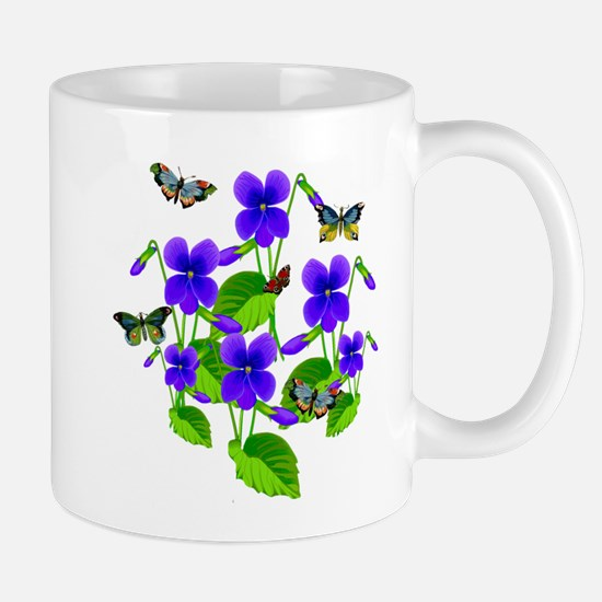 Violets and Butterflies Mug