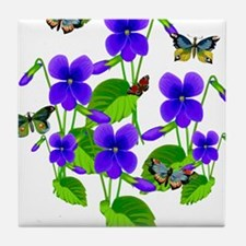 Violets and Butterflies Tile Coaster