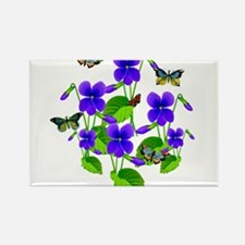 Violets and Butterflies Rectangle Magnet